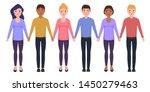 happy people of different... | Shutterstock . vector #1450279463