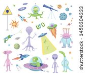 vector fun collection of ufo... | Shutterstock .eps vector #1450304333