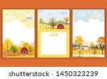 set of cute cartoon autumn... | Shutterstock .eps vector #1450323239