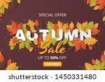 autumn sale background. folded... | Shutterstock .eps vector #1450331480