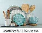 Set Of Kitchenware On Grey...