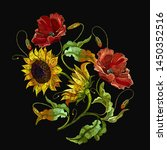 embroidery sunflowers and red... | Shutterstock .eps vector #1450352516