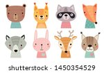 cute animal faces. hand drawn... | Shutterstock .eps vector #1450354529
