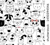 Stock photo seamless pattern with doodle cats and dogs can be used for textile website background book cover 1450394546