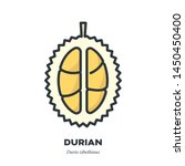 durian fruit icon  outline with ... | Shutterstock .eps vector #1450450400