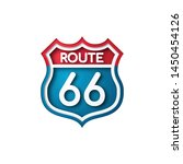 road sign route 66. paper cut... | Shutterstock .eps vector #1450454126