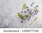 yoghurt with blueberry and... | Shutterstock . vector #1450477760