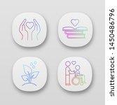 volunteering app icons set....