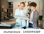 young confident assistant of... | Shutterstock . vector #1450494389