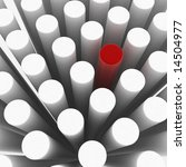 red 3d cylinder among white ones | Shutterstock . vector #14504977