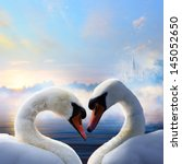Pair Of Swans In Love Floatin...