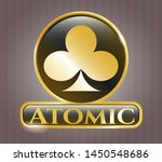 gold emblem with poker clover... | Shutterstock .eps vector #1450548686