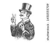 elegant gentleman in top hat...   Shutterstock .eps vector #1450555709