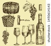 the winery retro set with grape ... | Shutterstock .eps vector #1450614143