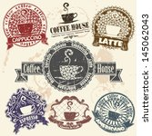 set of coffee stamp | Shutterstock .eps vector #145062043