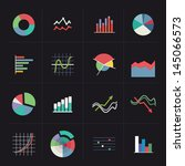 flat colorful graph icons on... | Shutterstock .eps vector #145066573