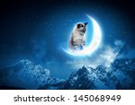 Stock photo image of cat in jump catching moon 145068949