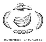 set of bananas in retro style.... | Shutterstock .eps vector #1450710566