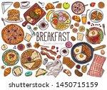 morning breakfast dishes hand... | Shutterstock .eps vector #1450715159