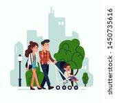 happy young adult parents... | Shutterstock .eps vector #1450735616