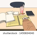 a hand that opens a book on a... | Shutterstock .eps vector #1450834040