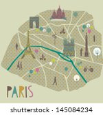 paris map greeting card design | Shutterstock .eps vector #145084234