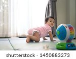 Asian Cute Scamp Baby Crawling...
