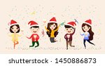 business people celebrate merry ... | Shutterstock .eps vector #1450886873