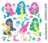 Set Of Of Cute Mermaid Princess ...