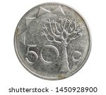 50 Cents coin, 1993~Today - Circulation serie, Bank of Namibia. Obverse, issued on 1993. Isolated on white
