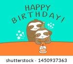 happy sloth dad and son cartoon ... | Shutterstock .eps vector #1450937363