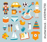 vector icon set with kids toys... | Shutterstock .eps vector #1450946750