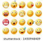 emoji vector icon set. yellow... | Shutterstock .eps vector #1450948409