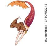Pretty Cartoon Swimming Mermaid....