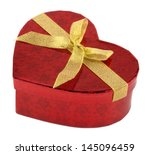 Heart Shaped Red Gift Box On...