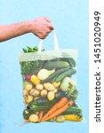 fresh vegetables in eco bag....   Shutterstock . vector #1451020949