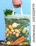 fresh vegetables in eco bag....   Shutterstock . vector #1451020979