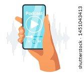 smartphone in female hand flat... | Shutterstock .eps vector #1451043413