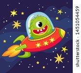 alien monster flying in a... | Shutterstock .eps vector #1451054459