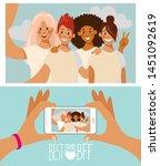 group of four girls friends... | Shutterstock .eps vector #1451092619