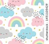 cloud pattern  cute face cloud... | Shutterstock .eps vector #1451105429