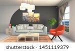 interior of the living room. 3d ... | Shutterstock . vector #1451119379