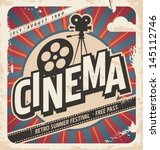 retro cinema poster. vector... | Shutterstock .eps vector #145112746