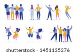 set of young people jumping on... | Shutterstock .eps vector #1451135276