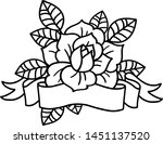 rose tattoo with ribbon .... | Shutterstock .eps vector #1451137520