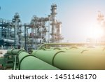 green pipe line in oil and gas...   Shutterstock . vector #1451148170