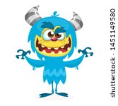 Stock photo happy cartoon monster halloween blue furry monster yeti or bigfoot 1451149580
