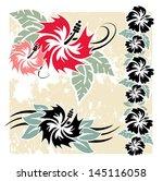 various hibiscus hawaiian... | Shutterstock .eps vector #145116058
