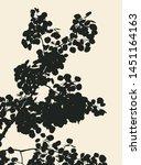 silhouette of a birch branch... | Shutterstock .eps vector #1451164163