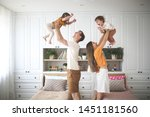 beautiful caucasian family with ... | Shutterstock . vector #1451181560